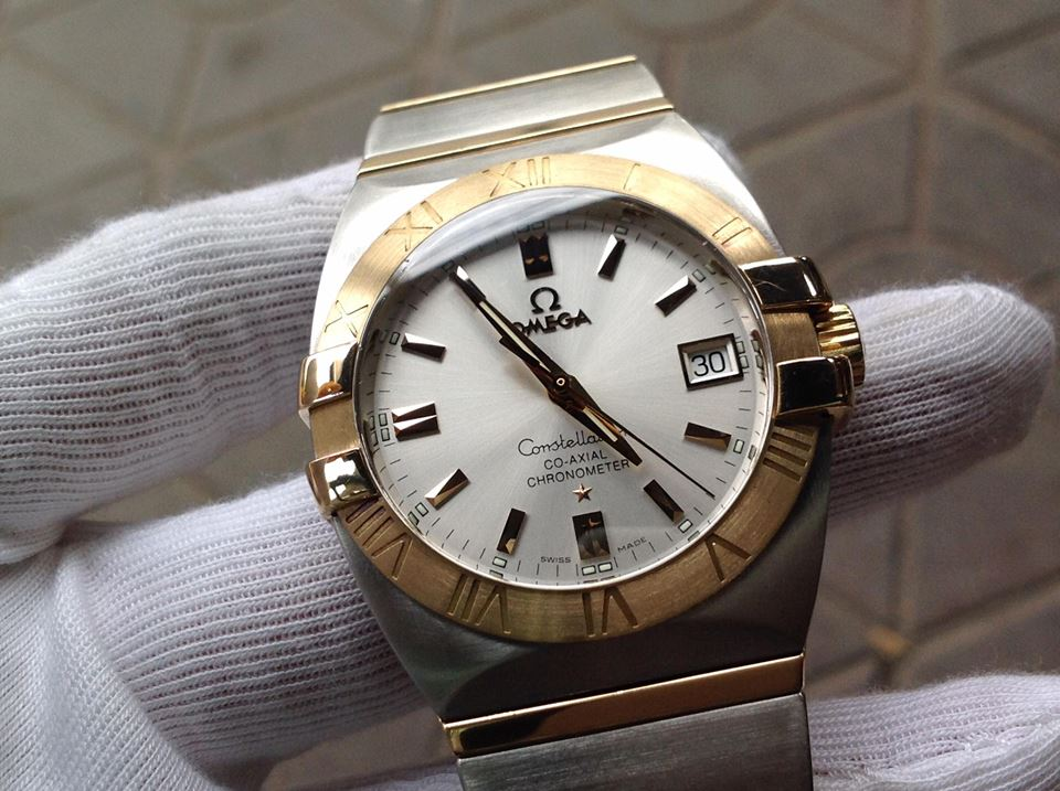 Omega Constellation demi vàng 18k
